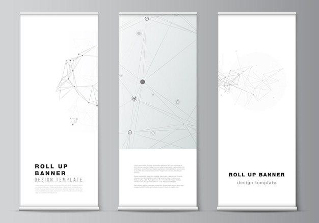 Layout of roll up mockup templates for vertical flyers