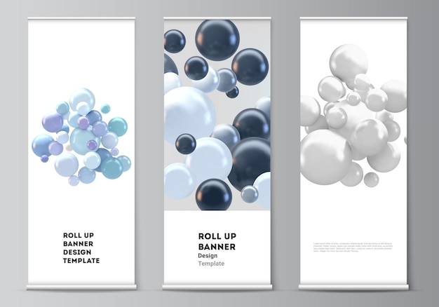 Layout of roll up templates with multicolored 3d spheres, bubbles