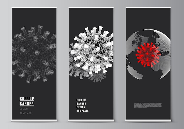Layout of rollup templates background of coronavirus. virus concept.