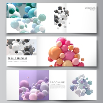 Layout of square covers templates for trifold brochure, flyer, magazine, cover design, book design. abstract futuristic background with colorful 3d spheres, glossy bubbles, balls.