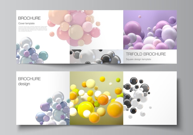 Layout of square covers templates for trifold brochure