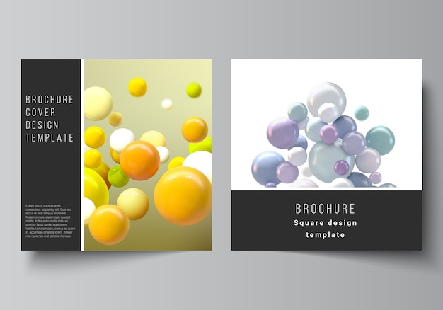 Layout of templates for brochure, flyer, cover design. 3d spheres, glossy bubbles, balls.