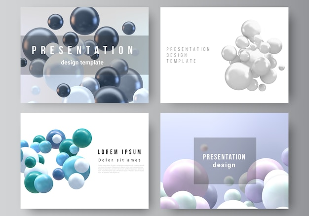 Layout of templates for brochure, presentation, cover design. 3d spheres, glossy bubbles, balls.