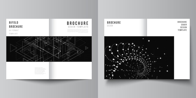 Layout of two a4 cover mockups templates for bifold brochure