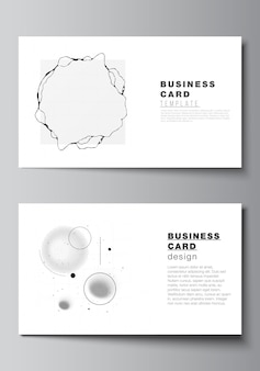 Layout of two business cards design templates, horizontal template.