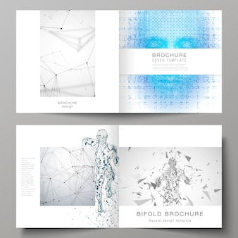 The  layout of two covers templates for square  bifold brochure, artificial intelligence