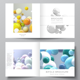 Layout of two covers templates for square bifold brochure