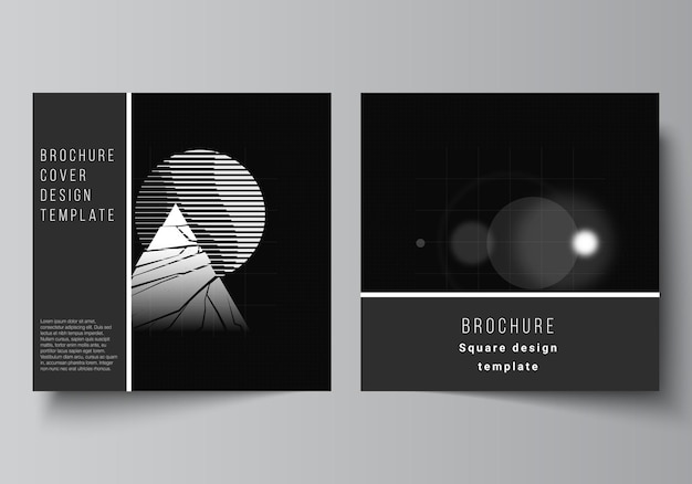 Layout of two square covers design templates for brochure