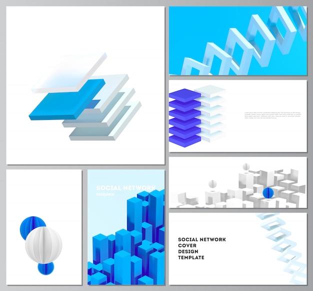 カバーデザイン、ウェブサイトのデザイン、ウェブサイトの背景や広告のための現代のソーシャルネットワークのレイアウト。動きのあるダイナミックでリアルな幾何学的な青い形状の3dレンダリング構成