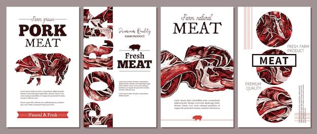 육류 농장 천연 제품 일러스트레이션을위한 포스터, 라벨 또는 태그 레이아웃