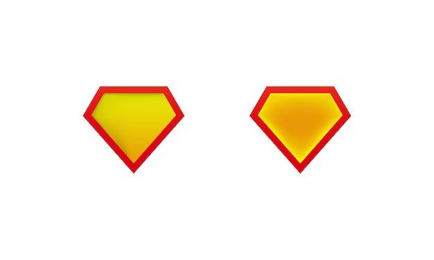 Макеты значок щита супермена с тенью. мокапы лейблов супергероев. вектор на изолированном белом фоне. eps 10.