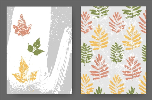 Layouts with an autumn design of natural shades in the grunge style. silhouettes of autumn leaves on an abstract background