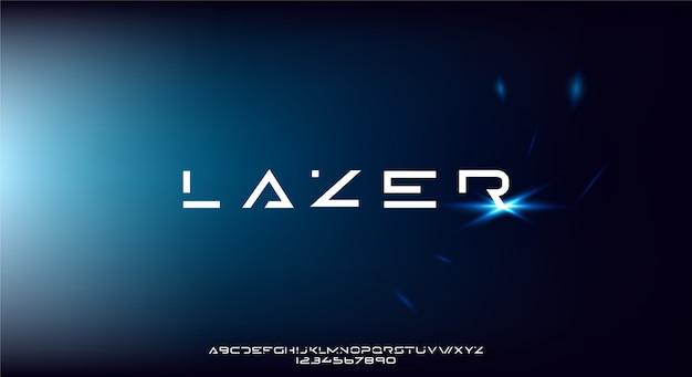 Lazer, абстрактный современный минималистский геометрический футуристический шрифт алфавита.