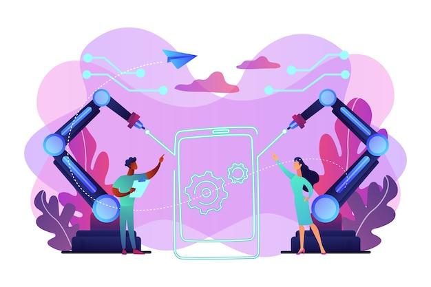 Lazer emette un fascio di luce disegnando i contorni di smartphone e ingegneri, persone minuscole. tecnologie laser, sistemi di comunicazione ottica, concetto di utilizzo del laser medicale. illustrazione isolata viola vibrante brillante
