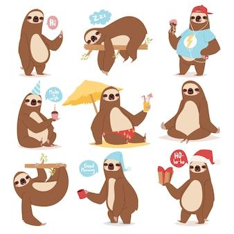 怠惰なナマケモノの動物キャラクターは、人間のかわいい怠惰な漫画のカワイイのようなさまざまなポーズをとり、野生のジャングルの哺乳類のイラストを遅くします。