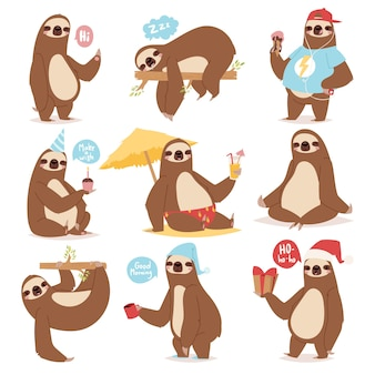 Laziness sloth animal character different pose like human cute lazy cartoon kawaii and slow down wild jungle mammal    illustration.
