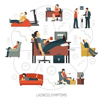 Laziness symptoms infographics