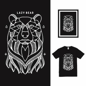 レイジーベアラインアートtシャツデザイン