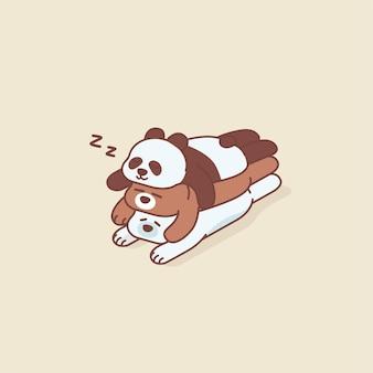 Lazy bear, polar bear and panda sleep on top of each other