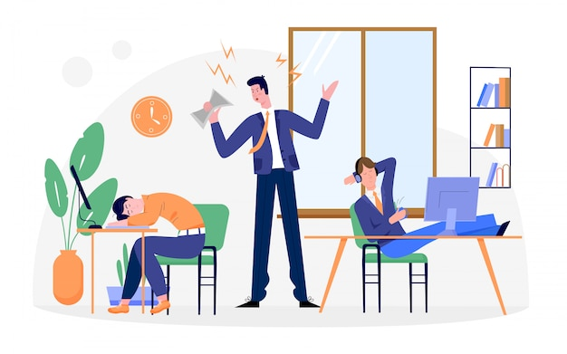 怠惰なビジネス人々のイラスト、漫画のビジネスマンのキャラクターが日常の事務作業に疲れて、白の机で寝ています。