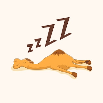 Lazy camel cartoon animals sleep