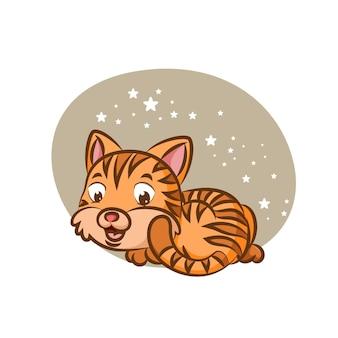 Ленивый кот, лежащий под ярким сиянием