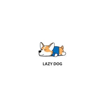 Lazy corgi puppy sleeping icon