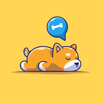 Lazy dog sleeping  icon . sleeping shiba inu, animal icon  isolated