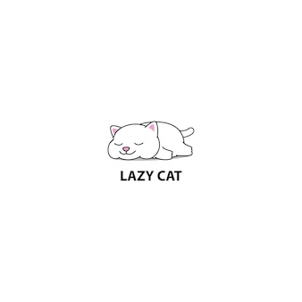 Lazy fat cat sleeping vector illustration