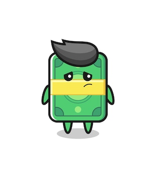 The lazy gesture of money cartoon character , cute style design for t shirt, sticker, logo element