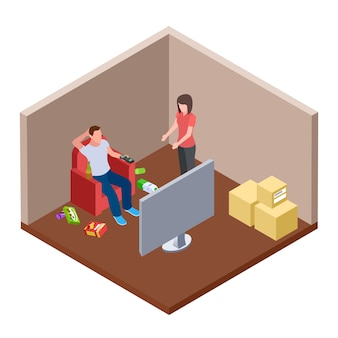 Lazy husband watching tv with beer and garbage, wife swears - family isometric  concept