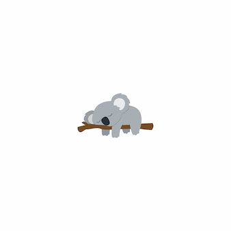Lazy koala sleeping on a branch flat design