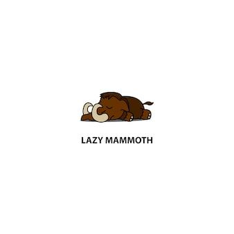 Lazy mammoth sleeping icon