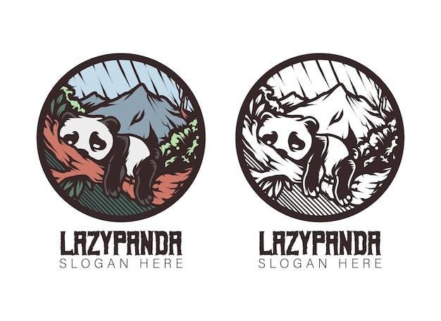 Lazy panda mascot logo