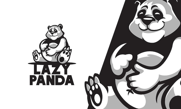 Lazy panda mascot vector illustration