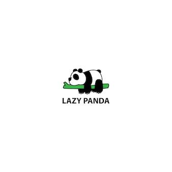 Lazy panda sleeping on a branch cartoon
