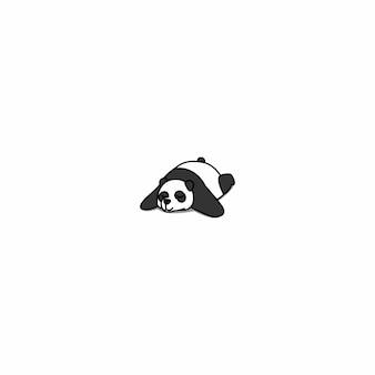 Lazy panda sleeping cartoon