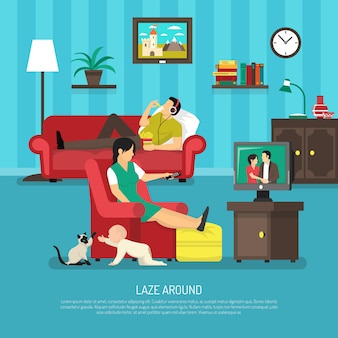 Lazy people illustration