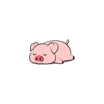 Lazy pig sleeping cartoon, vector illustration
