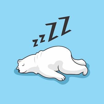 Lazy polar bear cartoon animal sleeping