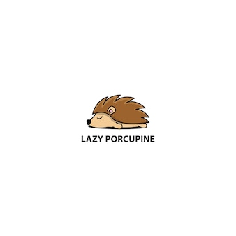 Lazy porcupine sleeping cartoon icon