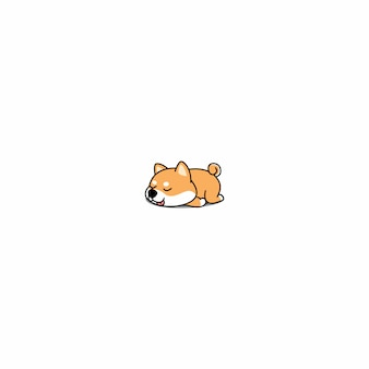 Lazy shiba inu puppy sleeping icon vector