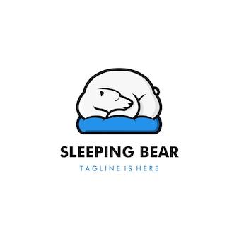 Lazy sleeping white polar bear in blue pillow logo vector template illustratio