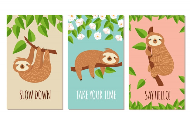 Lazy sloth. cute slumbering sloths on branch. child t shirt design or greeting cards  set