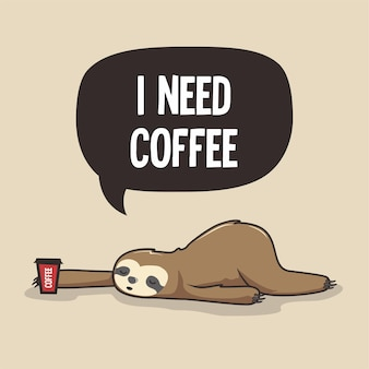 Lazy sloth need coffee cartoon