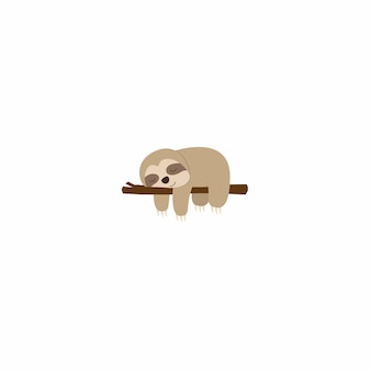 Lazy sloth sleeping on a branch flat design