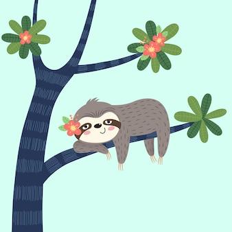 Ленивый ленивец, спящий на дереве.