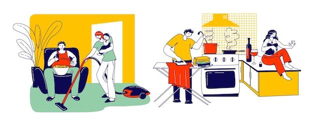 怠惰な配偶者の概念。妻や夫のキャラクターが日常の家事をしているのに、パートナーは同時に何もしません。家族差別、減価償却。線形の人々のベクトル図