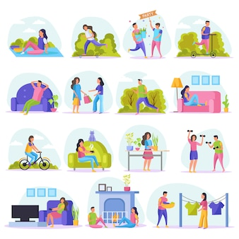 Lazy weekends people flat icon set with resting people watch tv sit on couch shopping riding in the park and other illustration