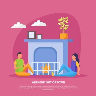 Fine settimana pigri persone in appartamento con descrizione del fine settimana fuori città e appuntamento romantico della coppia